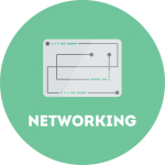 networking circle graphic | Turner Technology designs and implements local, wide area and virtualized networks